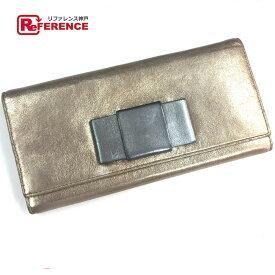 MIUMIU ミュウミュウ 5M1109 2つ折り長財布 リボン 長財布(小銭入れあり) レザー SAHARA(サハラ) ゴールド レディース【中古】