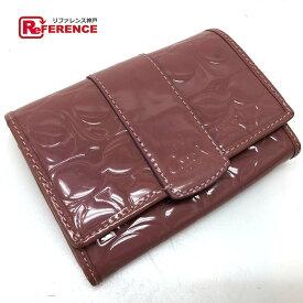 COACH コーチ シグネチャー 二つ折り財布(小銭入れあり) エナメル ピンク系【中古】