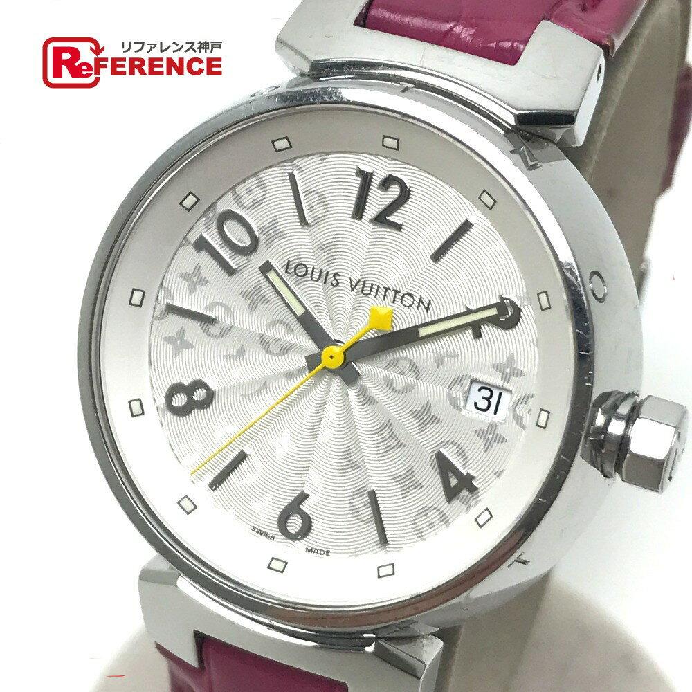 LOUIS VUITTON ルイ・ヴィトン Q1313 レディース 腕時計 タンブール ホログラム 腕時計 SS/クロコ革ベルト シルバー レディース【中古】