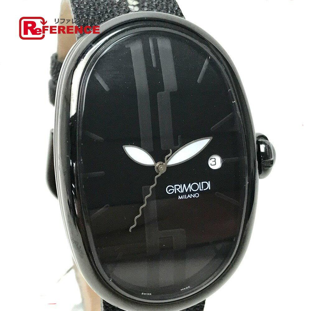 GRIMOLDI グリモルディ メンズ腕時計 ブラックジャック ボルゴノーヴォ 腕時計 PVD/PVDブラック/スティングレイベルト(社外) ブラック メンズ【中古】