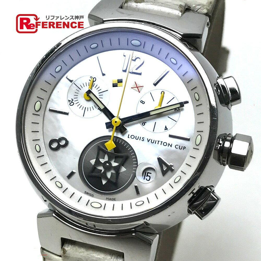 LOUIS VUITTON ルイ・ヴィトン Q132C レディース腕時計 ラブリーカップMM タンブール 腕時計 SS×革ベルト シルバー レディース【中古】