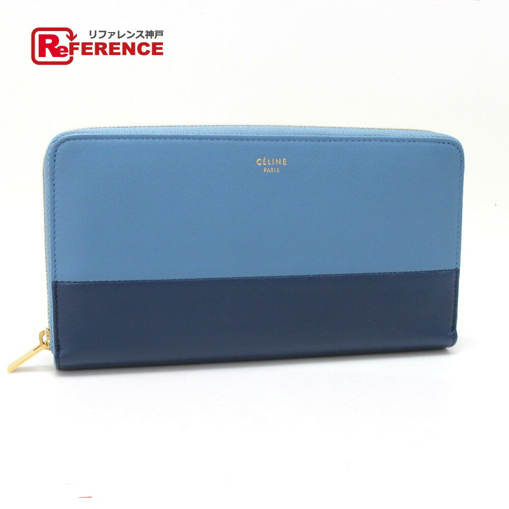 CELINE セリーヌ ラウンドファスナー長財布 バイカラー 長財布(小銭入れあり) レザー ブルー ボーイズ【中古】