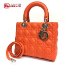 AUTHENTIC Dior Unused Lady with CHRISTIAN DIOR charm 2 WAY Shoulder Bag  Hand Bag Orange Lambskin Leather 4d422fc63f