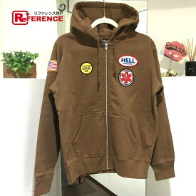 HYSTERIC GLAMOUR ヒステリックグラマー 17FW Supreme HYSTERIC GLAMOUR Patches Zip Up Sweatshirt ジップアップ フード シュプリーム×ヒステリックグラマー パーカー ブラウン メンズ 未使用【中古】