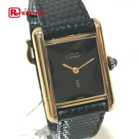CARTIER カルティエ レディース腕時計 マストタンク ヴェルメイユ 腕時計 SV925/革ベルト ゴールド レディース【中古】