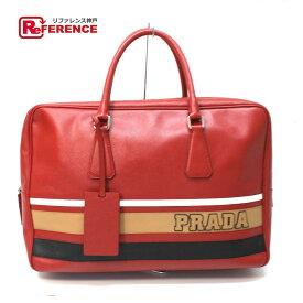 中古 PRADA プラダ サフィアーノ ハンドバッグ トートバッグ ロゴ ライン ブリーフケース サフィアーノレザー レッド メンズ 中古  b8acf60d0a749