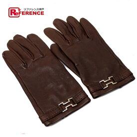 b748cad16cdf HERMES エルメス 雑貨 レザーグローブ 手袋 グローブ レザー ブラウン シルバー金具 ブラウン レディース【中古】