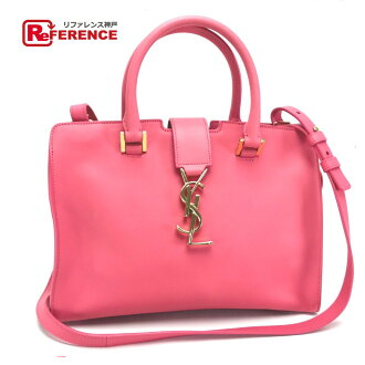 和SAINT LAURENT PARIS Saint-Laurent巴黎400914手提包挎包嬰兒·河馬·交織字母YSL標識2way包皮革粉紅女士新貨一樣