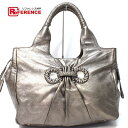 49d5b785d791 AUTHENTIC Salvatore Ferragamo Gancini Shoulder Bag Hand Bag Tote Bag  gray Bronze Leather