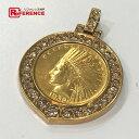 JEWELRY リサイクルジュエリー ペンダントトップ 1932年 アメリカ 10ドル インディアン コイン ペンダント K18/ダイヤモンド/K21.6 ゴー...