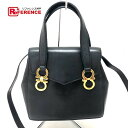 154e0f8e709c AUTHENTIC Salvatore Ferragamo Gancini 2 Way Bag Hand Bag Shoulder Bag Black  Leather