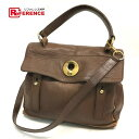 711c7aba339 AUTHENTIC YVES SAINT LAURENT Shoulder Bag Hand Bag Muse To 2way bag Brown Leather  x Canvas 289278