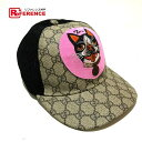 As well as a GUCCI Gucci 426887 cap hat Bosco Bosco GG スプリームベースボールハット hat  PVC  mesh beige system X black X pink system Lady s new article a4d2756fb088