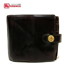 14b5754b0544 中古 IL BISONTE イルビゾンテ 短財布 ロゴ 二つ折り財布(小銭入れあり) レザー ブラウン メンズ【中古】