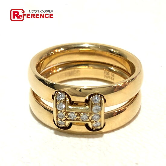 HERMES erumesuorampu 2連ringumeredaiya H標識環、戒指K18YG 13號黄色黄金女士 BRANDSHOP REFERENCE