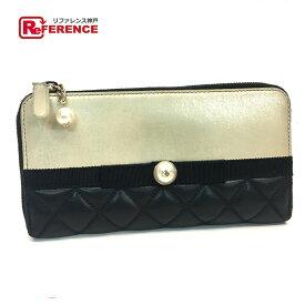 b19e089b2a87 CHANEL シャネル A82472 マトラッセ パール×リボン CC 長財布(小銭入れあり) ラムスキン