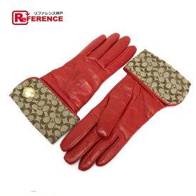 COACH コーチ 手袋 シグネチャーxレザー ファッション小物 グローブ /ナイロンジャガードxレザー ベージュ×レッド レディース【中古】