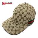 61af8c1b AUTHENTIC GUCCI Men's Women's Baseball cap Sherry line hat Beige  GGCanvasxLeather 200035