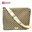 7d55b6486e62ff AUTHENTIC GUCCI Crossbody GG Messenger bag Shoulder Bag Beige x Brown  GGCanvas 145864