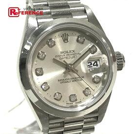 16adecbbca ROLEX ロレックス 69166G レディース腕時計 デイトジャスト オイスターパーペチュアル 無垢 10Pダイヤ 腕時計 Pt950/ダイヤモンド  プラチナ