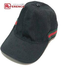 GUCCI グッチ 200035 ベースボールキャップ キャップ帽 シェリーライン 帽子 GGキャンバス ブラック メンズ【中古】