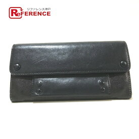 Chloe クロエ フラップ  二つ折り財布 長財布(小銭入れあり) レザー レディース ブラック 【中古】