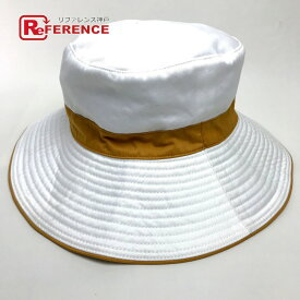 HERMES エルメス ライン ハット帽 メンズ レディース 帽子 コットン ホワイト レディース【中古】