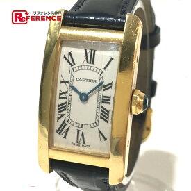 CARTIER カルティエ W2601556 レディースウォッチ 時計 タンクアメリカン K18無垢 レザーベルト 腕時計 K18YG/革ベルト イエローゴールド レディース【中古】