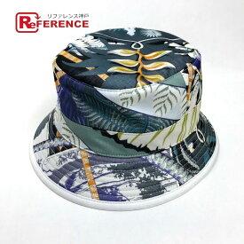 HERMES エルメス ハット帽 花柄 フラワー柄 帽子 コットン ブルー ユニセックス 未使用【中古】