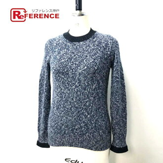 AUTHENTIC CHANEL  Cashmere simple knit sweater blue/White