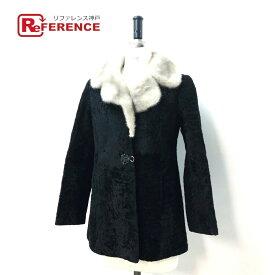 no brand ノーブランド ハーフコート 毛皮 サファイアミンク襟付き ファーコート ラム ブラック レディース【中古】