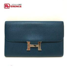 HERMES エルメス 二つ折り コンスタンス ロング メンズ レディース 長財布(小銭入れあり) エプソン メンズ ブルーサフィール ブルー 【中古】