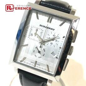BURBERRY バーバリー BU1327 デイト クロノグラフ ヘリテージ クォーツ 腕時計 SS×革ベルト メンズ シルバー×ブラック 【中古】