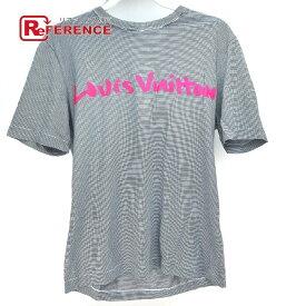 LOUIS VUITTON ルイヴィトン グラフィティ ロゴ ストライプ 半袖Tシャツ コットン ユニセックス ブラック×ホワイト×ピンク 【中古】