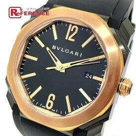 BVLGARI ブルガリ BGO41BBSPGVD デイト オクト ウルトラネロ 自動巻き 腕時計 K18PG /ラバーベルト/SS(ブラックカーボン仕上げ) メンズ ピンクゴールド 新品同様 【中古】