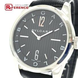 BVLGARI ブルガリ ST37S ロゴ ソロテンポ クオーツ 腕時計 SS/革ベルト メンズ シルバー 【中古】