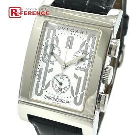 BVLGARI ブルガリ RTC49S デイト レッタンゴロ クロノグラフ クオーツ 腕時計 SS/革ベルト メンズ シルバー 【中古】