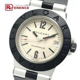 BVLGARI ブルガリ AL32TA アルミニウム デイト クオーツ 腕時計 アルミニウム/ラバーベルト ボーイズ ブラック×シルバー 【中古】