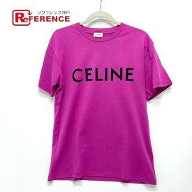 CELINE セリーヌ ロゴ ファッション トップス 半袖Tシャツ コットン ユニセックス パープル系 【中古】
