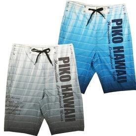 PIKO ピコ サーフパンツ メンズ 水着 トランクスタイプ 紳士 男性用 スイムパンツ メッシュインナー一体型 ポケット グラデーション ロゴ グレー ブルー M L LL