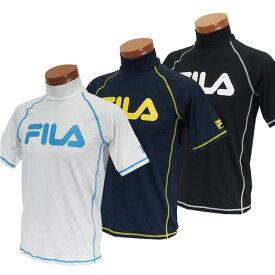 FILA ラッシュガード 水着 メンズ 半袖 ゆったりシルエット スタンドカラー Tシャツスタイル BIGロゴ 配色ステッチ 半袖ラッシュガード 紫外線カット UVカット ブルー ブラック ネイビー M L LL
