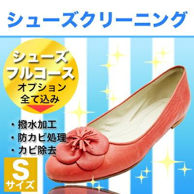 シューズのフルコース Sサイズ(〜15cm)革靴 手入れ 除菌 消臭 靴 クツ 丸洗い 洗濯 補修 色かけ 色補修 補色 クリーニング オプション全て込み