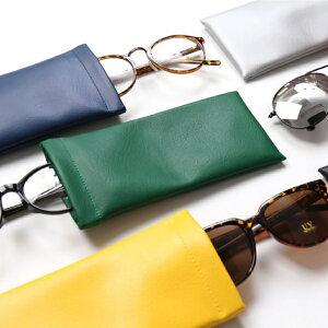 メガネケース 眼鏡ケース 眼鏡入れ メガネ 眼鏡 めがね ソフトケース メンズ レディース PUレザー ワンタッチ 無地 スリム おしゃれ カバー かわいい