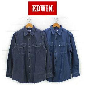 EDWIN エドウイン メンズ シャンブレー 長袖ワークシャツ ET2001