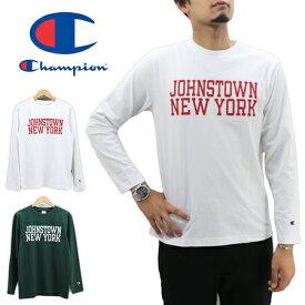 ≪ゆうパケットで送料300円≫Champion MENS 20s/1 JOHNSTOWN NEW YORK PRINT LONG SLEEVE T-SHIRT C3-Q425 / チャンピオン メンズ 天竺(コットン100%) プリント 長袖Tシャツ ロンT C3-Q425