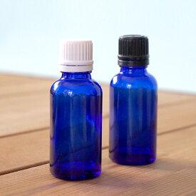 ビンに細かな傷があるので、アウトレット価格!遮光瓶(ドロッパーセット)ブルー 30ml(精油 フレグランスオイル 香水 ボディスプレー クラフト用)