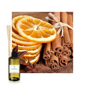 冬にオススメ!クリスマスに最適です。シナモン&オレンジの香りアロマリードディフューザー用オイル100mlリードスティック付き(リードディフューザー フレグランスオイル ラタンスティック リフィル 詰め替え用)