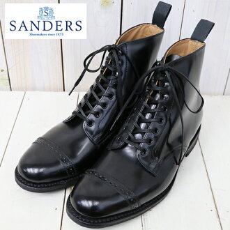 """SANDERS (Saunders) """"Military Cap Toe Boot"""" (Black)"""