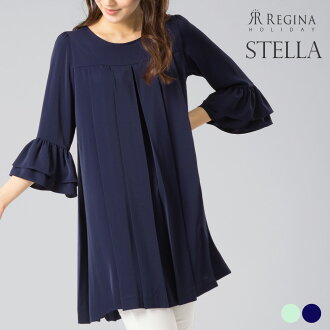 Reggina in the spring and summer 03-i19 tunic pleats dress Lady's adult refined Shin pull きれいめ cut-and-sew for feeling of cold plain fabric black and white dark blue 30 generations in 40s