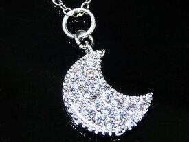 ムーン ネックレス CZ ダイヤモンド ネックレス ジルコニア アクセサリー 月 ネックレス レディース ネックレス ジュエリー キュービックジルコニア デザインネックレス 【ダイヤモンドに匹敵する輝きがここに】
